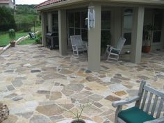 Oklahoma Flagstone Patio constructed by OL' Yeller Landscaping, Lake Travis, Texas.