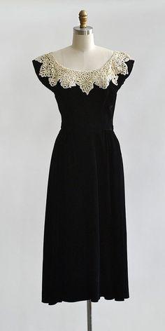 vintage 1940s black velvet lace neckline dress from Adored Vintage