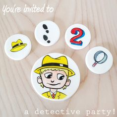 Hand Painted Cupcake Toppers #detective #birthday #boy