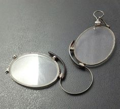 Antique Glasses Spectacles Wire Rim Foldable Compact Silver Tone WOW E59    eBay e435ecd419bd