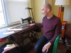 """Peter, from the blog """"Male Pattern Boldness"""" demonstrates his Singer 66 treadle."""