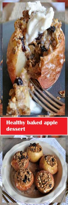 Healthy baked apple dessert - MY Delish Food Baked Apple Dessert, Apple Desserts, Easy Desserts, Healthy Baking, Healthy Recipes, Cookie Recipes, Dessert Recipes, Guacamole Recipe, Breakfast Cake