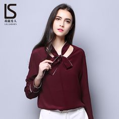 100% Pure Silk Blouses For Women 2017 Spring Summer Fashion Elegant  Wine Red Black Ladies Office Shirts Plus Size XXL-in Blouses & Shirts from Women's Clothing & Accessories on Aliexpress.com | Alibaba Group