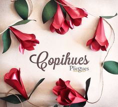 Guirnaldas de flores, colores a elección. #floresdepapel #copihues #hechoamano… Fabric Flowers, Paper Flowers, Origami, Office Themes, Diy Tutorial, Soft Fabrics, Projects To Try, Paper Crafts, Holiday Decor