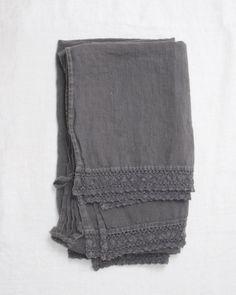 2 linen + lace bath towels