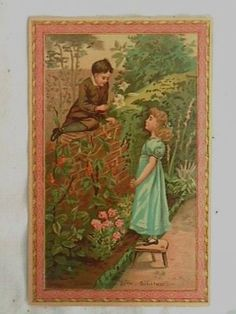 Vintage Greeting Card with two children chatting over the garden wall.