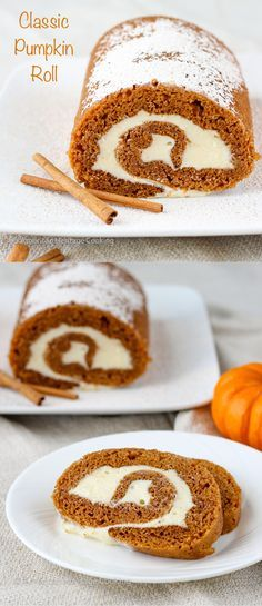Traditional Pumpkin Roll | Soft, moist pumpkin sponge cake with cream cheese filling topped with a cinnamon powdered sugar! - American Heritage Cooking