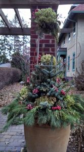 Blue spruce tips, pine, and incensed cedar, and blue-berried juniper are the evergreens with the dried hydrangea blooms and statice in this gorgeous urn decorated for the holidays.  At the top of the obelisk is a hand tied bouquet of hydrangea, statice, blue-berried juniper, and incensed cedar.  This arrangement will hold its shape and color all winter long!