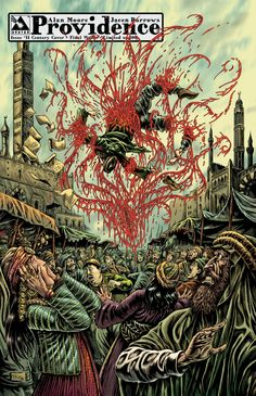 """Providence #11, Century Variant 02 – Final Words; art by Raulo Caceres The end of Abdul Alhazred, as detailed in Lovecraft's """"History of the Necronomicon,"""" torn apart by invisible demons on the streets of Damascus"""