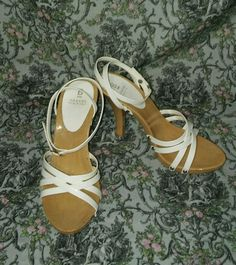 """Bakers """"Marlana"""" Strappy White Ankle Strap High Heel Shoes ~ Women's Size 7 #Bakers #Strappy"""