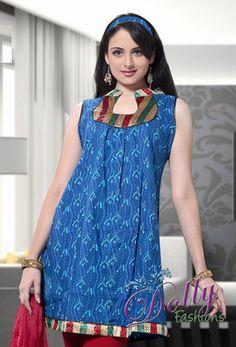 Dark Blue Printed Cotton Kurti/ Indian Tunic Top