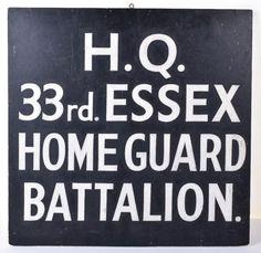 WW2 Home Front Plaque HQ 33rd Essex Home Guard Battalion Essex Homes, Home Guard, Ww2