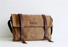 Leather Canvas Messenger Bag, Shoulder Bag,IPAD Bag, Washed Canvas Bag,Leather Bag, Laptop Bag,X130005 on Etsy, NT$1316.30