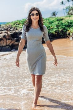The Charleston Dress sewing pattern by Hey June is a knit dress with a fitted bodice, two skirt options, and seven sleeve options.