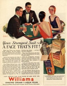 Williams, Aftershave Bridge Playing Cards Games Mens, USA (1920) . Today, we definitely don't dress like this for a bridge party. :-))
