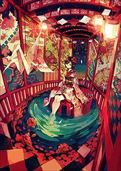 Manga Mädchen in Kimono in Pavillion mit Teich