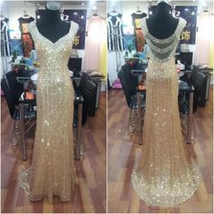 The gold prom dresses are fully lined, 8 bones in the bodice, chest pad in the bust, lace up back or zipper back are all available, total 126 colors are available. This dress could be custom made, there are no extra cost to do custom size and color. Description 1, Material: sequin, beads, r...