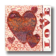 """Original Mixed Media Canvas Painting - """"Love"""", Paradis Terrestre - Luxury British Made Accessories & Homeware Unique Cards, Mixed Media Canvas, Heart Shapes, Vintage World Maps, Greeting Cards, Hearts, British, Valentines, The Originals"""