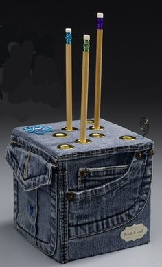 Art Repurpose Old Jeans to Make a Pencil Cube | Crafts n Coffee  I am in love with this denim cube. Crafted from recycled denim and styrofoam it is definitely at the top of my to do list. craft-ideas