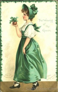 The Wearing Of The Green Ellen Clapsaddle St. Patrick's Day Type: Postcard Era:	Divided Back Artist: Ellen Clapsaddle Publisher: International Art Publishing Company Postmark: 1908 Mar-14 PM City: Edmonds PM State:Wa   Stamp:1C