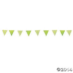 "Lime Green Striped & Polka Dot Pennant Banner  ""7x9ft  $2.58"