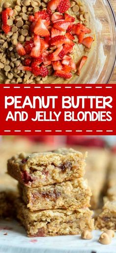 peanut-butter-and-jelly-blondies The classic blondies recipe turned peanut butter and jelly just in time for school to start! This dessert is the best back-to-school treat. Jelly Cookies, Spice Cookies, Bar Cookies, Healthy Snacks, Healthy Recipes, Dairy Free Options, Peanut Butter Recipes, Fun Desserts, Appetizer Recipes