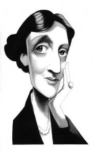"A caricature of Virginia Woolf - Love her. ""A Room of One's Own"" made a big impression on me and I feel it should be required reading for all girls. Also, click to see quotes of her highly opinionated critique of James Joyce's ""Ulysees""."