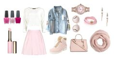 """""""Baby P!nk"""" by hien-anhhs ❤ liked on Polyvore featuring Carven, Michael Kors, Australia Luxe Collective, Chloé, J.Crew, de Grisogono, Betsey Johnson, Bebe, OPI and Clarins"""