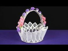 How to Make Plastic Canvas Basket - Step by Step Tutorial, In this video i show you how to make How to Make Plastic Canvas Basket - Step by Step Tutorial, if. Plastic Canvas Books, Plastic Canvas Ornaments, Plastic Canvas Crafts, Plastic Canvas Patterns, Paper Flower Vase, Bobbin Lacemaking, Diy Gift Box, Finger Knitting, Needlepoint Patterns