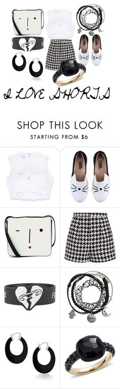 """""""I LOVE SHORTS"""" by debbie-l-garrison on Polyvore featuring Bebe, Karl Lagerfeld, Lulu Guinness, Emma Cook, Bling Jewelry and Pomellato"""