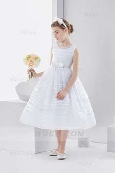 Short Ball Gown First Holy Communion Dress With Bow