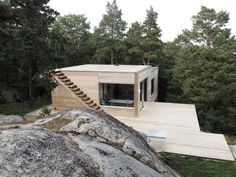 House/ deck/ rocks and forest Cabins In The Woods, House In The Woods, Sustainable Architecture, Architecture Design, Building A House, House Plans, Cottage, Timber Cabin, House Deck