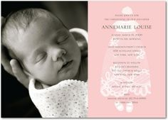 ADORABLE BABY GIRL CHRISTENING OR BAPTISM INVITATION.