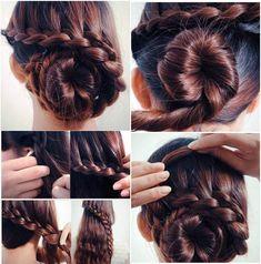 Low bun hair tutorial #braid #bun #hair