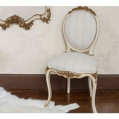 Palais Ivory & Gold French Chair