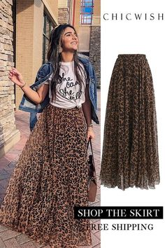 Leopard Watercolor Maxi Skirt - outfits - New Hair Styles Mode Outfits, Skirt Outfits, Fashion Outfits, Womens Fashion, Fashion Shoes, Fashion Clothes, Fashion Jewelry, Look Fashion, Autumn Fashion