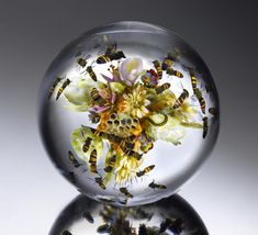 Flowers and Fruit Bouquet with Swarming Honeybees 2014 6 inches in diameter, flameworked cast and laminated soda lime glass. Photo Credit - Ron Farina