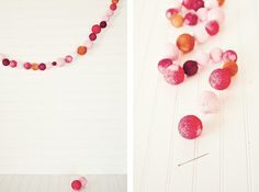 Styrofoam balls, fishing line, paint and glitter....DIY bright garland balls....my daughter would love to make this for her room!