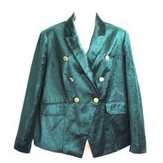 Chicos Velvet Jacket Blazer Size 2 Large 12 Green Holiday Christmas Lined #Chicos #Blazer