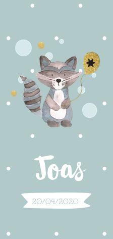 Lovz.nl | Teder geboortekaartje met wasbeer in waterverf stijl. Zelf maken.