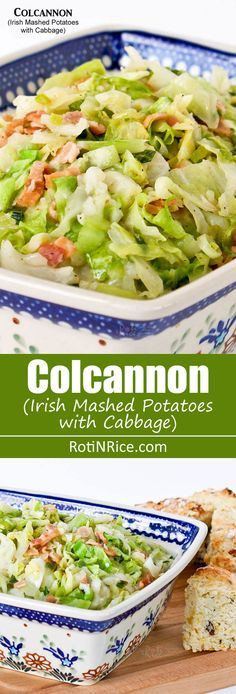Colcannon, a traditional Irish dish of mashed potatoes with cabbage. It is very tasty and makes a wonderful side dish eaten with bacon, ham, or corned beef. | RotiNRice.com