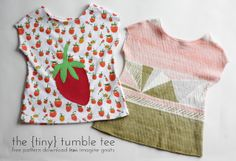 free pattern: the {tiny} tumble tee - imagine gnats Free pattern for a tiny version of the tumble tee knit shirt. Baby Sewing Projects, Sewing Patterns For Kids, Sewing Projects For Beginners, Sewing For Kids, Sewing Hacks, Sewing Tutorials, Clothing Patterns, Shirt Patterns, Pattern Sewing
