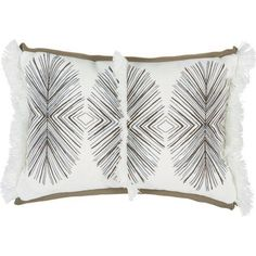 Lacefield Designs Tulum Black Pillow with White Fringe