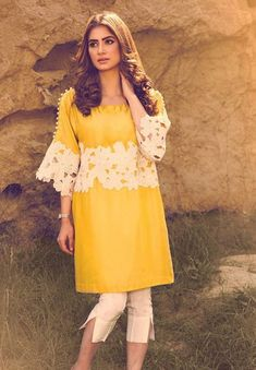 Latest Eid Dresses 2017 In Yellow and White Color Pakistani Fashion Casual, Pakistani Dresses Casual, Eid Dresses, Pakistani Dress Design, Indian Fashion, Fashion Dresses, Pakistani Bridal, Stylish Dresses, Simple Dresses