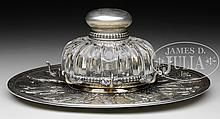 FABULOUS STERLING SILVER AND GLASS INKSTAND BY TIFFANY & COMPANY.