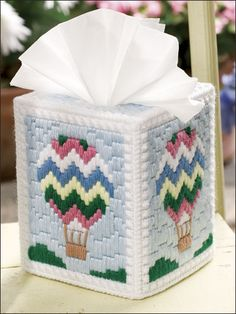 Plastic Canvas - Tissue Topper Patterns - Hot-Air Balloon Topper