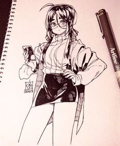 7,786 отметок «Нравится», 15 комментариев — Poch4N (@poch4n) в Instagram: «A twintailed lab assistant #illustration #drawing #art #artwork #traditionalart #character…»
