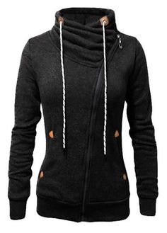 Black Funnel Neck Asymmetrical Zip Sweatshirt