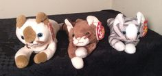 LOT of 3 TY Beanie Babies CATS NWT POUNCE PRANCE SNIP Beanie Baby #Ty