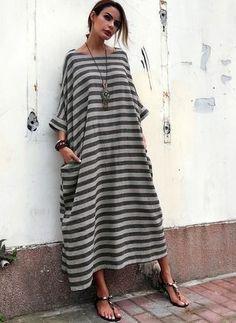 Pamuk Karışımlar Keten maksi gündelik 3/4 Kollu Şerit Elbiseler (1046788)